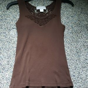 Small Brown Tank top with Embroidered neckkine